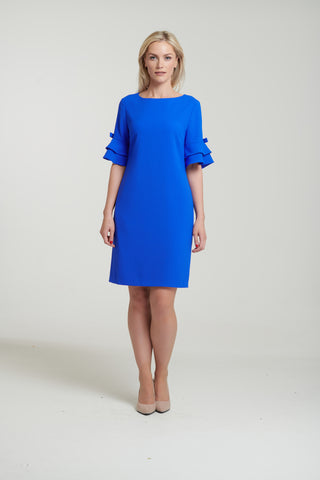 L 1131 Blue Frilled Sleeve Dress