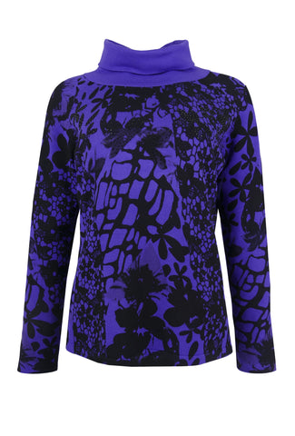 1199 Purple Print Polo Neck Jumper