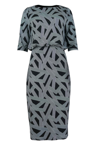 1211 Navy Print Blouson Dress
