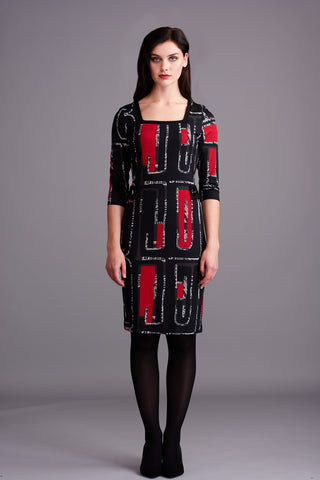 LD 301 Red & Black Geo Print Dress
