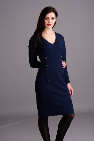 LD353 Navy Button Dress