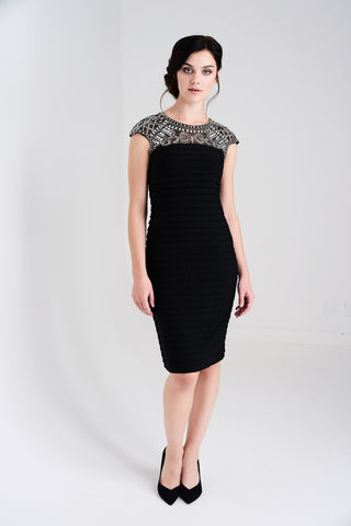 LD367 Embellished Black Bandage Dress