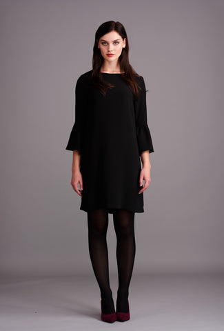 LD438 Black Fluted Sleeve Dress