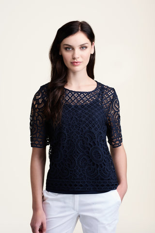 L514 Navy Lace Top