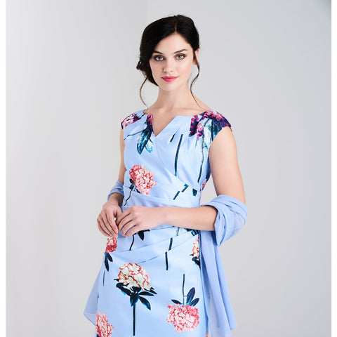 L630 Blue Floral Print Dress & Scarf