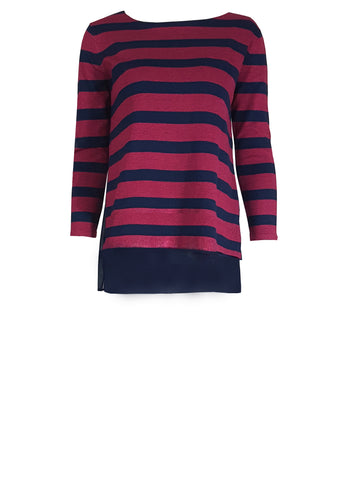 L 684 Pink and Navy Stripe Jumper