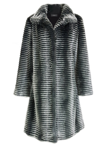 L 708 Silver Faux Fur Coat
