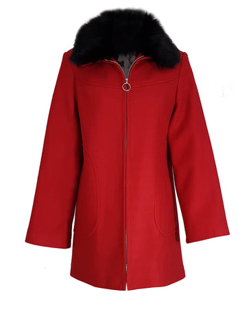 L 734 Red Fur Collar Coat