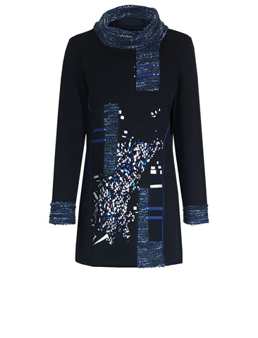 L 749 Blue & Black Print Tunic Top