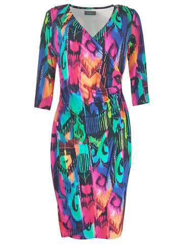 804 Colourful Print Wrap Dress