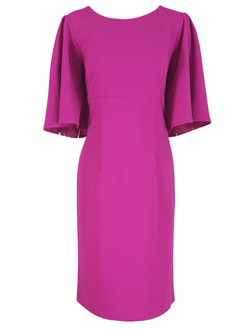 L 807 Magenta Cape Sleeve Dress