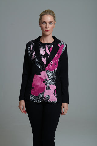 955 Black and Pink Print Twinset