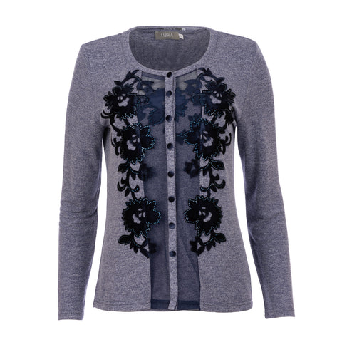 996 Navy Embellished Twinset