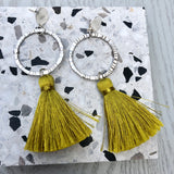 Silver Circle & Mustard Yellow Tassels