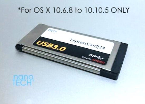 2 Port USB 3.0 ExpressCard|34 Card Adapter (OS X 10.6.8 - 10.10.5)