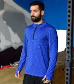 Men's Dry Fit Half Zip Long Sleeve Running Shirt (Blue) - wodarmour