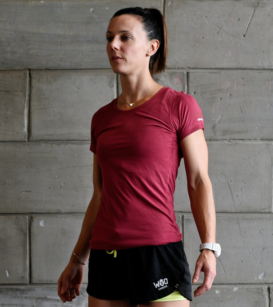 Women's Training T-shirt (Brick Red) - wodarmour