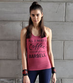 Women's Coffee and Barbell Graphic Tank top (Brick Red)