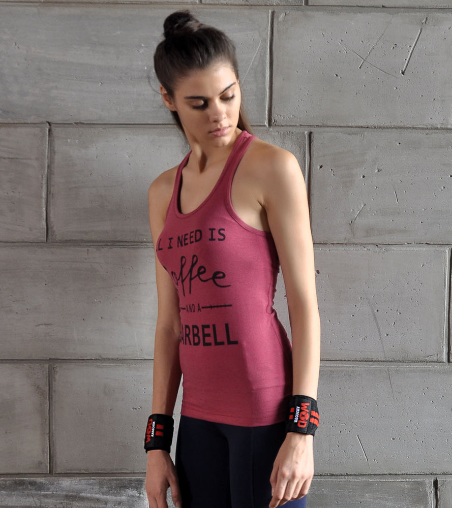 Women's Coffee and Barbell Graphic Tank top (Brick Red) - wodarmour