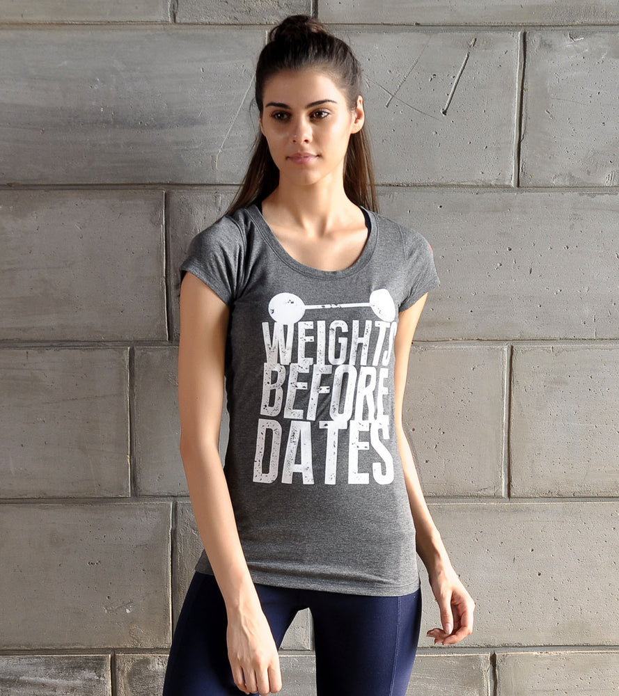 "Women's ""Weights before Dates"" Graphic T-shirt - wodarmour"
