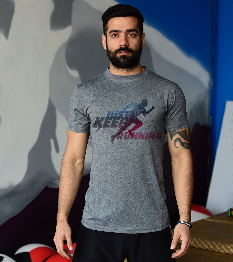 Mens Running Grey Graphic Tee - wodarmour