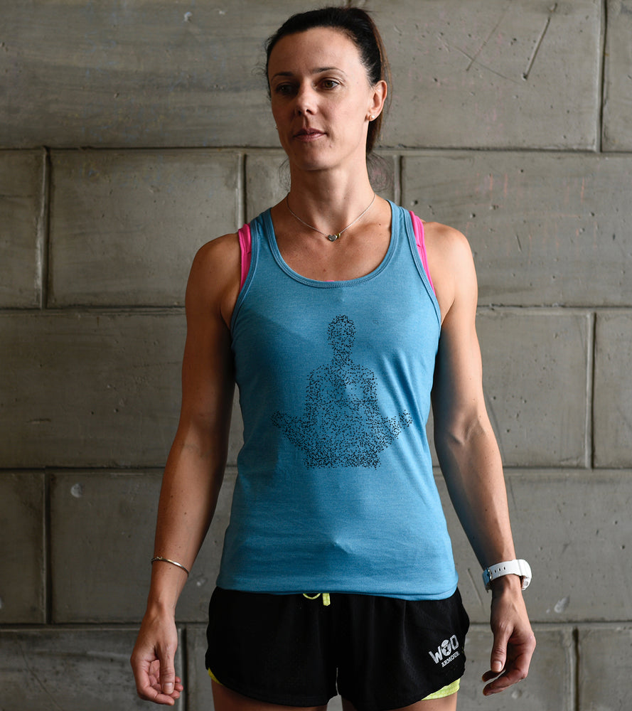 Womens Yoga graphic Tank top (Dodger Blue) - wodarmour