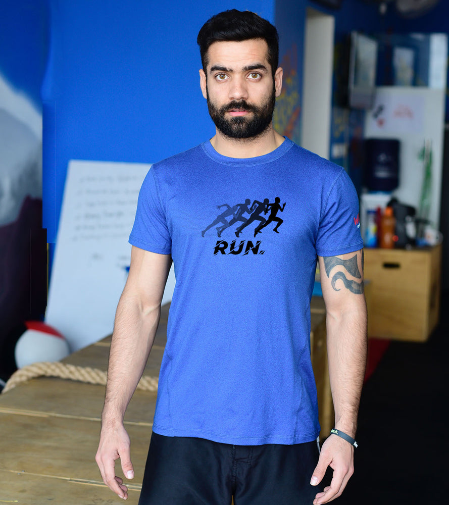 Men's DRY- Fit Blue Graphic T-shirt