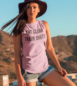 Women's EAT CLEAN TRAIN DIRTY muscle tank (Taffy Pink)