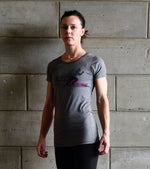 Women's Running Graphics T-shirt (Grey) - wodarmour