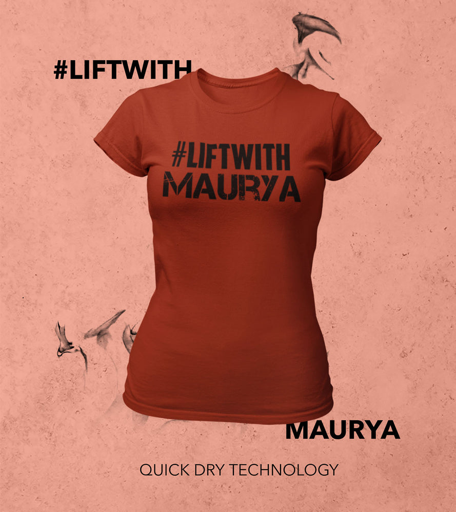 Women Lift With Maurya T-shirt (Crimson Red) - wodarmour