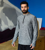 Men's Dry Fit Half Zip Long Sleeve Running Shirt - wodarmour