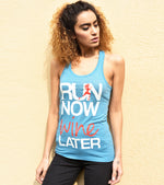 Women's Run Now Wine Later Tank Top (Dodger Blue) - wodarmour