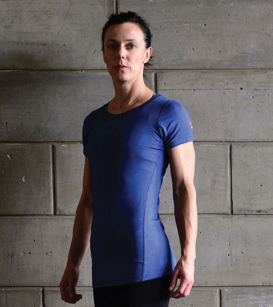 "Women's ""Dry Fit"" Stretchable Blue T-shirt - wodarmour"