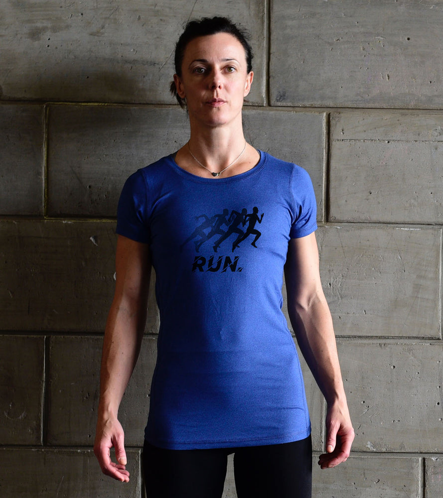 Women's Running Blue Graphic  T-shirt - wodarmour