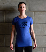 Women's Running Blue Graphic  T-shirt