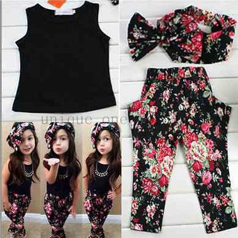 Baby/Toddler Girl Flower Clothing Set(vest t-shirt + flower pants + headband)