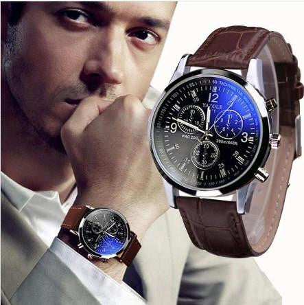 Leather Quartz Analog Watch
