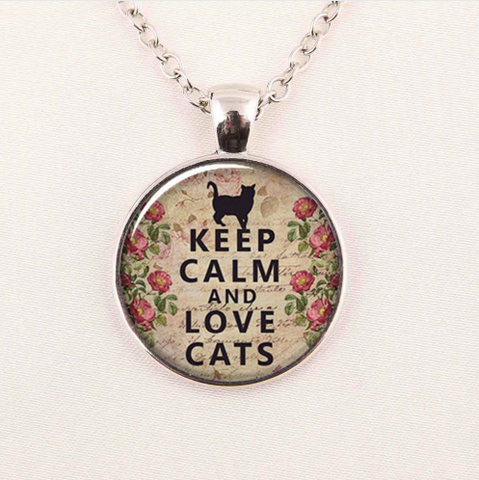 Keep Calm And Love Cats Necklace