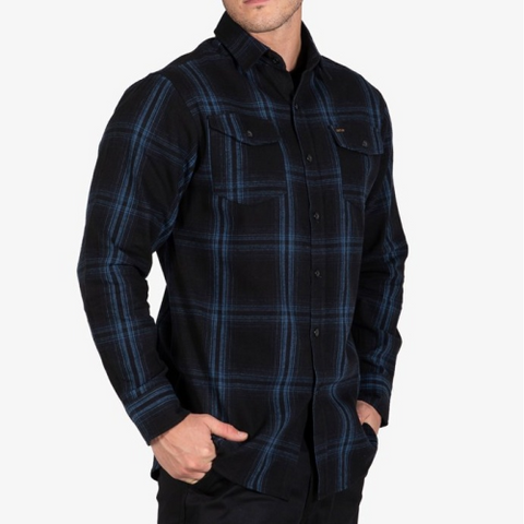 Mens Shirt -Flannel Newtown Blue