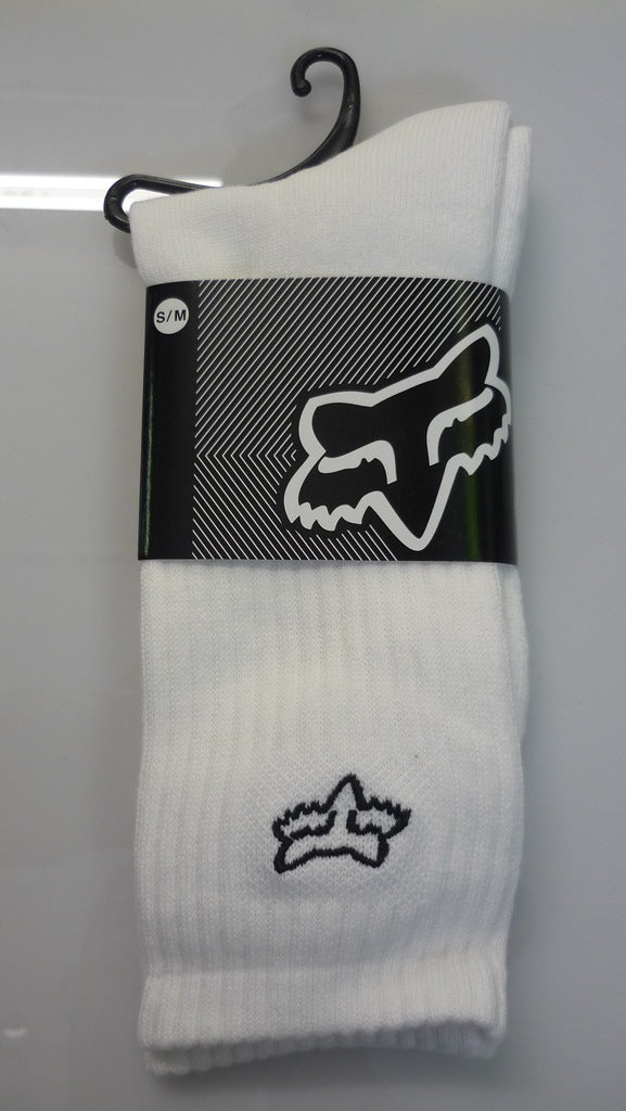 Fox Crew Socks, White, l-xl
