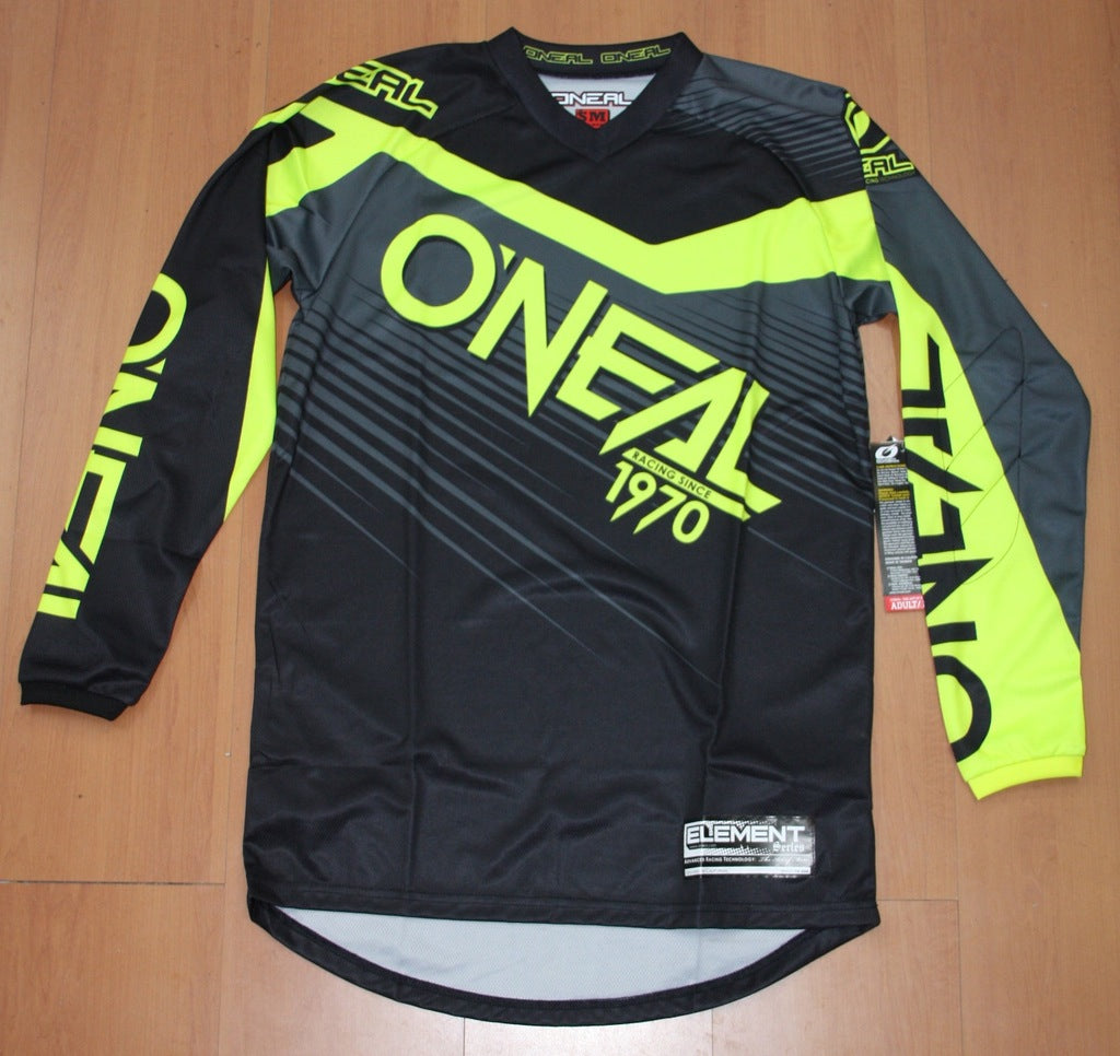 ONEAL ELEMENT R/WEAR JERSEY BLK/HI VIZ ADULT LG