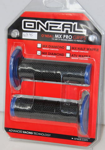ONEAL MX PRO GRIPS HALF WAFFLE DUAL COMP- BLACK/BLUE