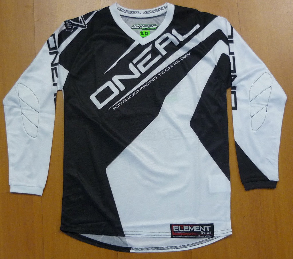 ONEAL ELEMENT R/WEAR JERSEY BLACK/WHITE ADULT \005XL