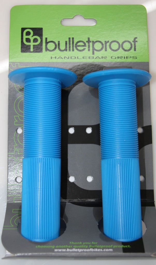 BULLETPROOF GRIPS 140MM W/FLANGE AND END PLUGS BLUE