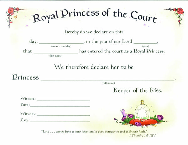 Royal Princess Certificate