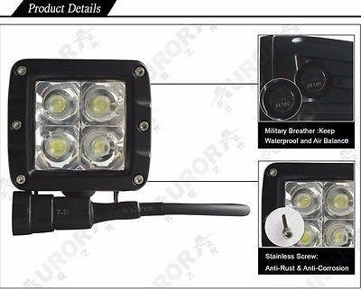 Pair of Aurora 2 Inch LED Working Light Bar/Cube Off Road Spot 20W 2200 Lumens