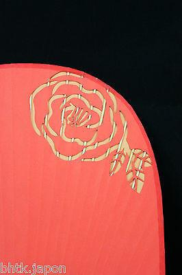 団扇 Uchiwa - Eventail rigide traditionnel japonais ROSES - Made in Japan