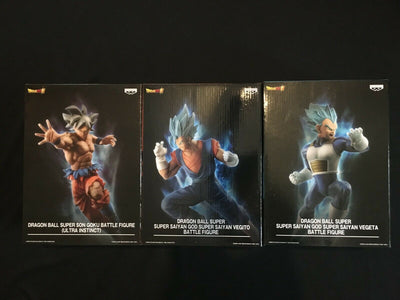 Lot 3 FIGURINES DRAGON BALL SUPER IN FLIGHT FIGHTING Goku Vegeta Vegeto BANPRESTO - produits du Japon - BHTK