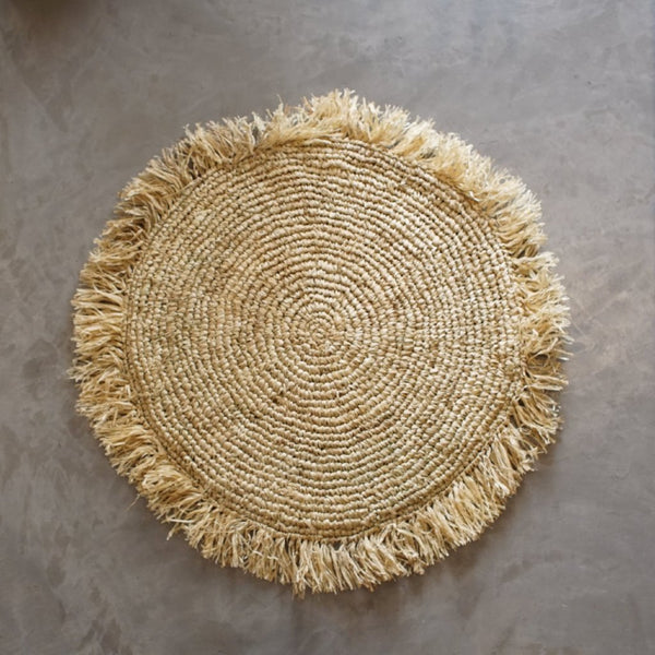 Raffia cushion cover round