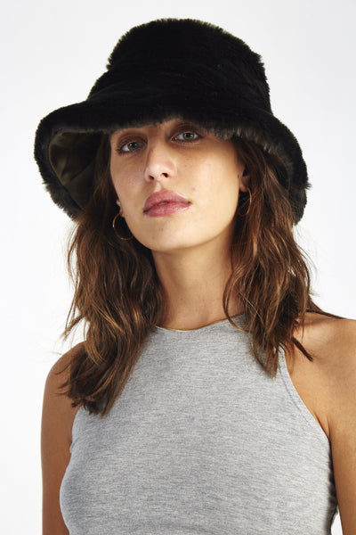 Bucket hat faux fur - wide brim